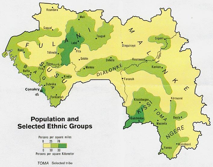 Mapa de Población y Grupos Étnicos de Guinea
