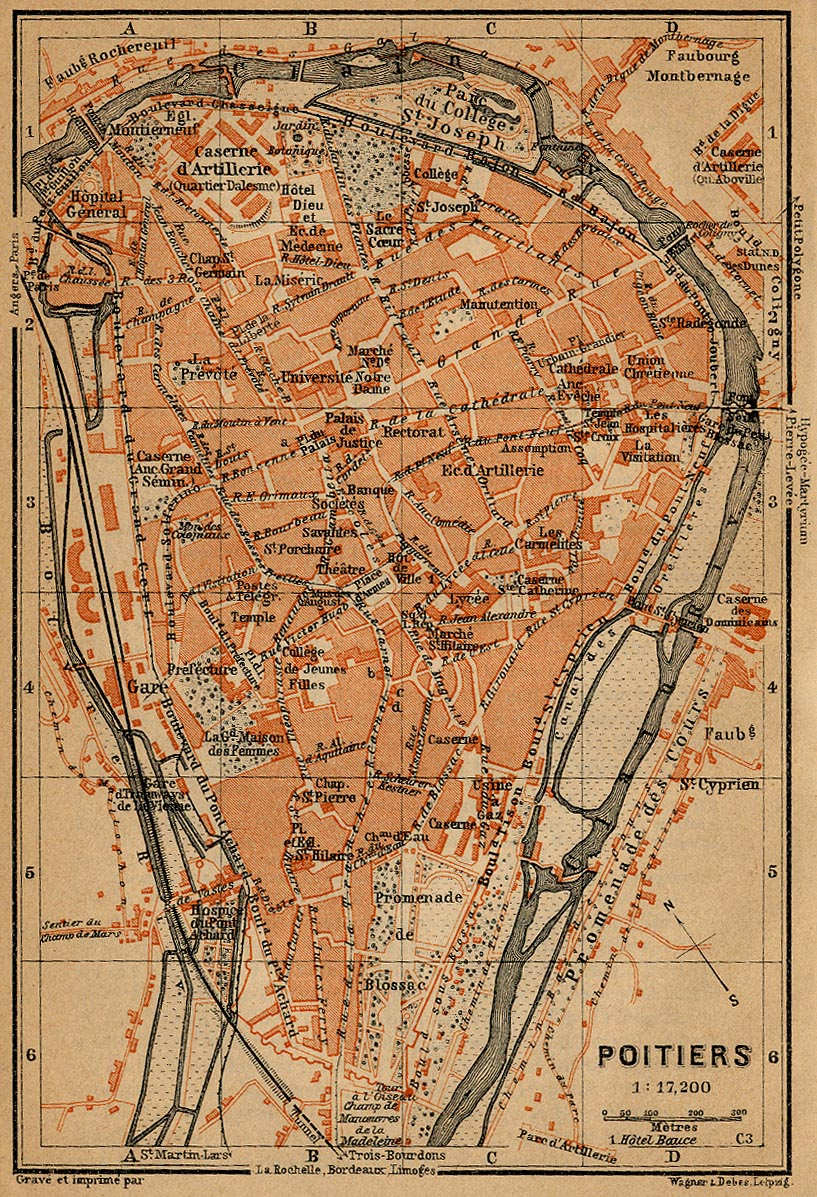 Poitiers Map, France 1914