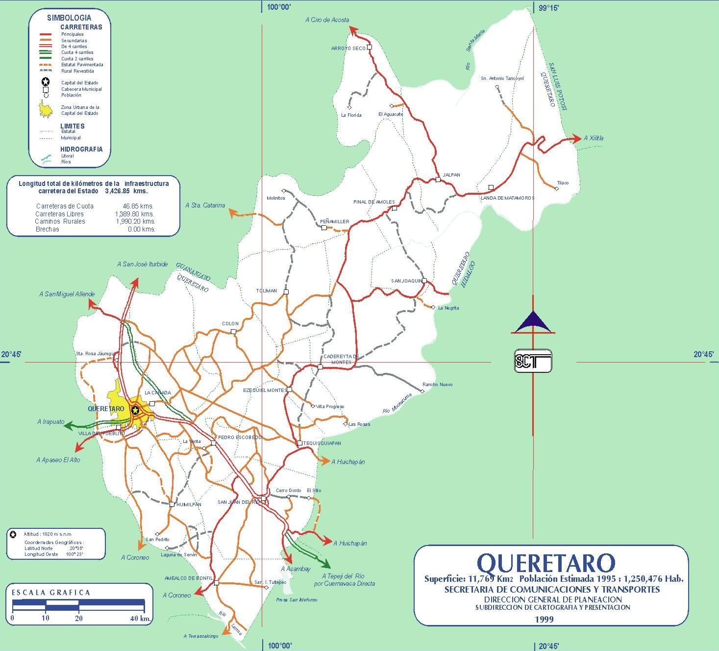 Mapa de Querétaro de Arteaga (Estado), Mexico