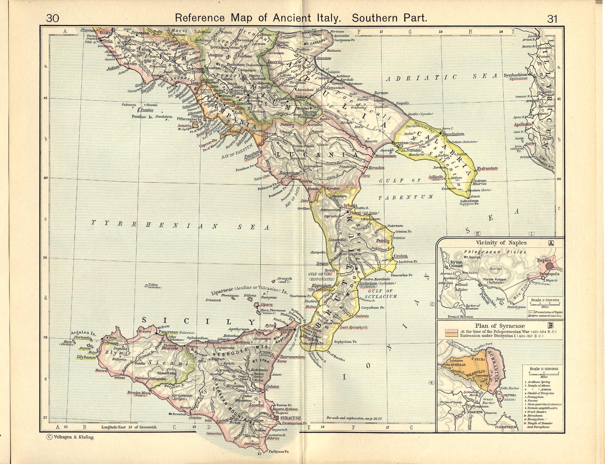 Mapa de Referencia del Sur de la Italia Antigua