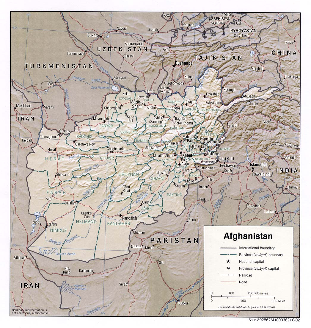 Afghanistan Shaded Relief Map