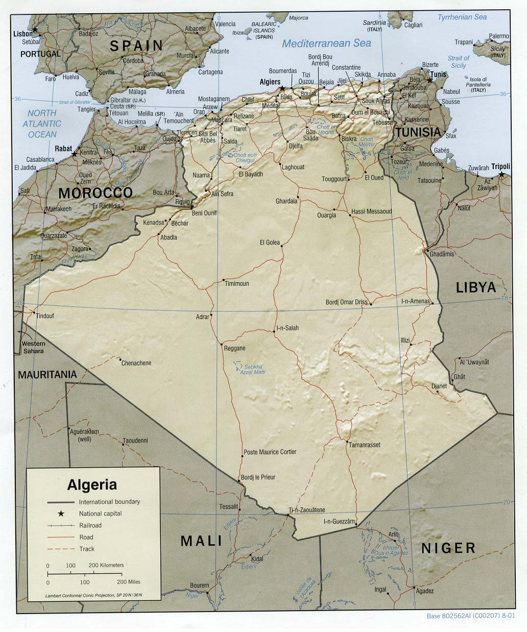 Mapa de Relieve Sombreado de Argelia