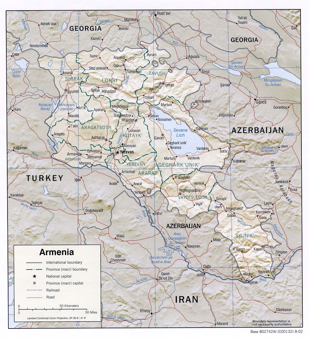 Armenia Shaded Relief Map