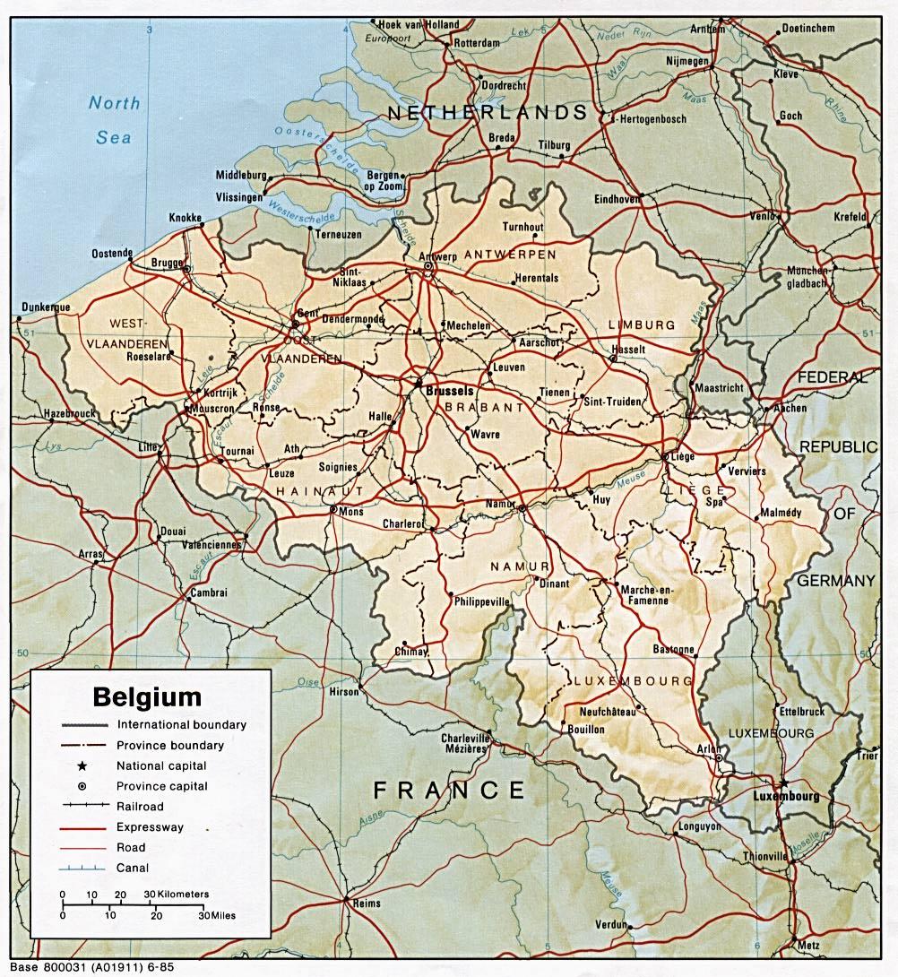 Mapa de Relieve Sombreado de Bélgica
