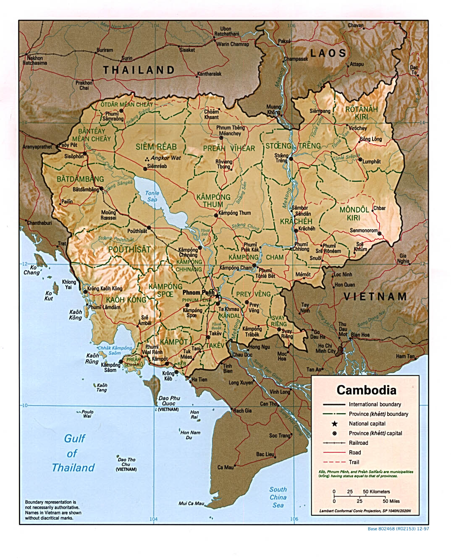 Mapa de Relieve Sombreado de Camboya