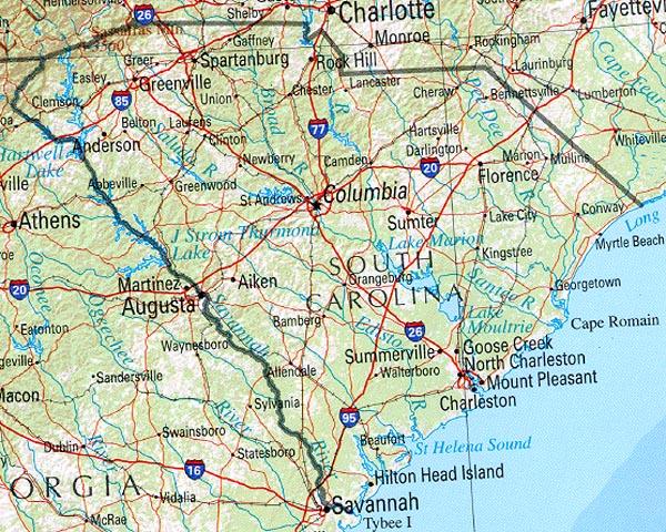 Mapa de Relieve Sombreado de Carolina del Sur, Estados Unidos
