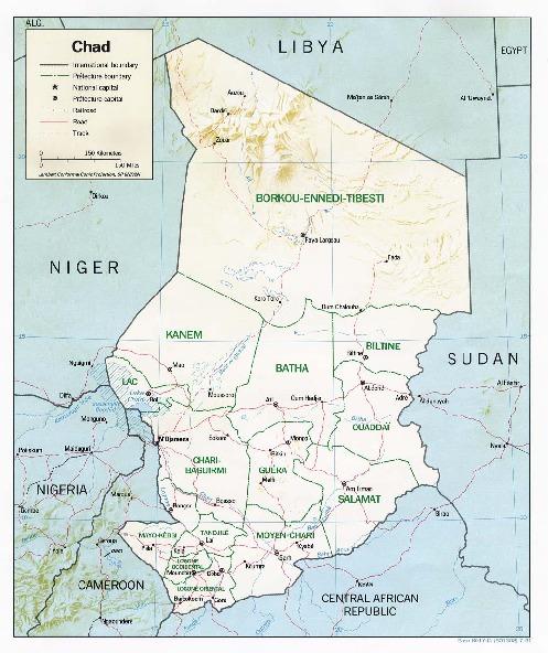 Mapa de Relieve Sombreado de Chad