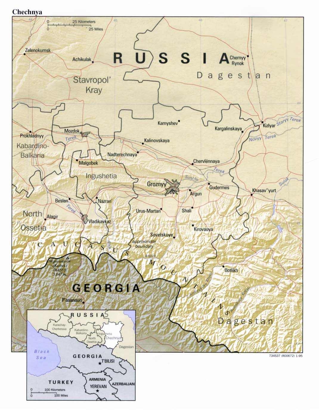 Chechnya Shaded Relief Map, Russia
