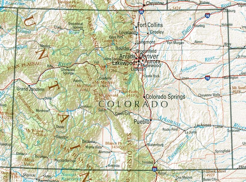 Mapa de Relieve Sombreado de Colorado