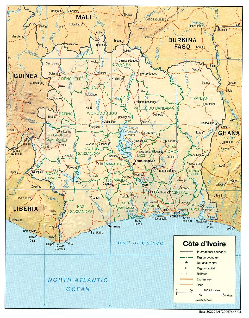 Mapa de Relieve Sombreado de C么te d'Ivoire