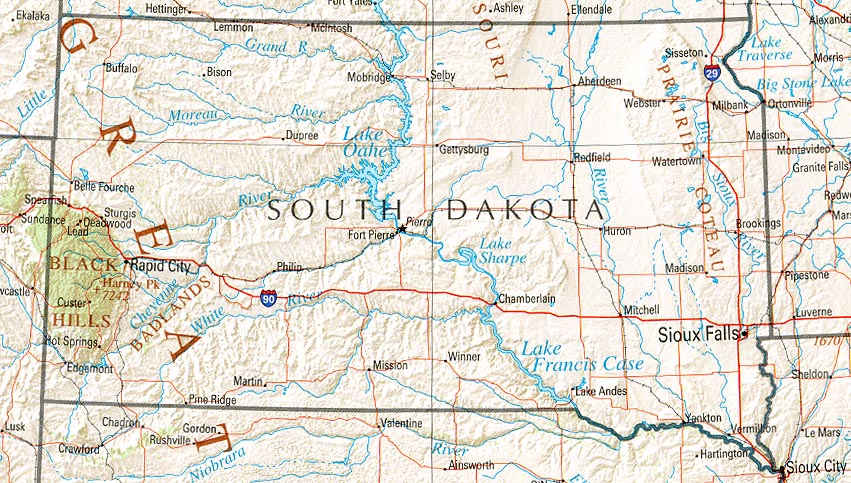South Dakota Shaded Relief Map, United States