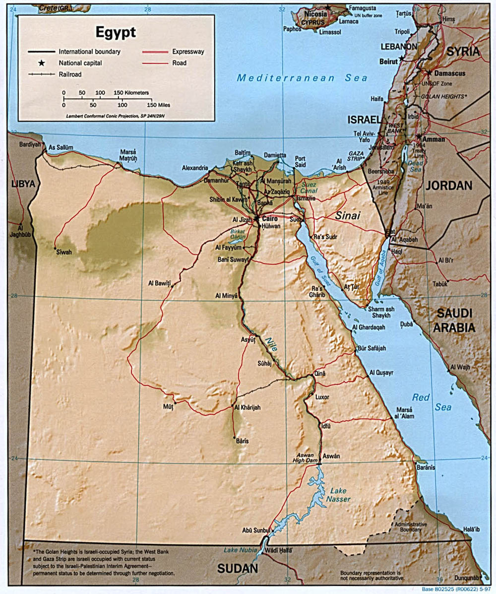 Egypt Shaded Relief Map