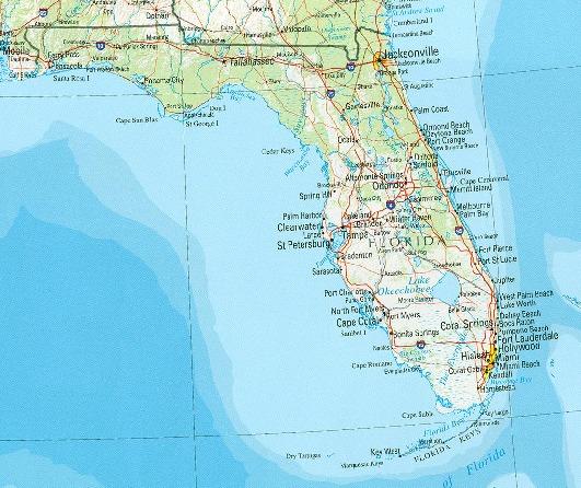Mapa de Relieve Sombreado de Florida, Estados Unidos