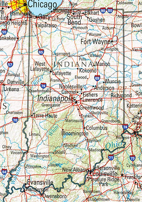 Mapa de Relieve Sombreado de Indiana, Estados Unidos