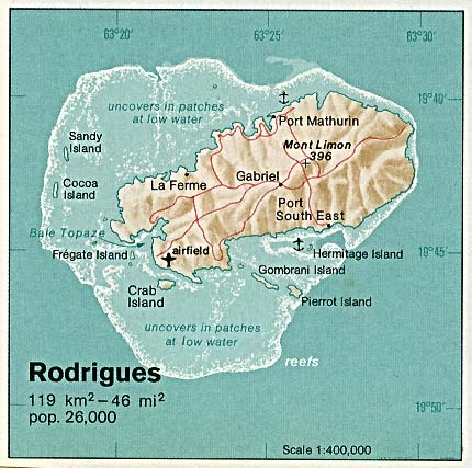 Rodrigues Island Shaded Relief Map, Mauritius