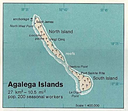 Agalega Islands Shaded Relief Map, Mauritius