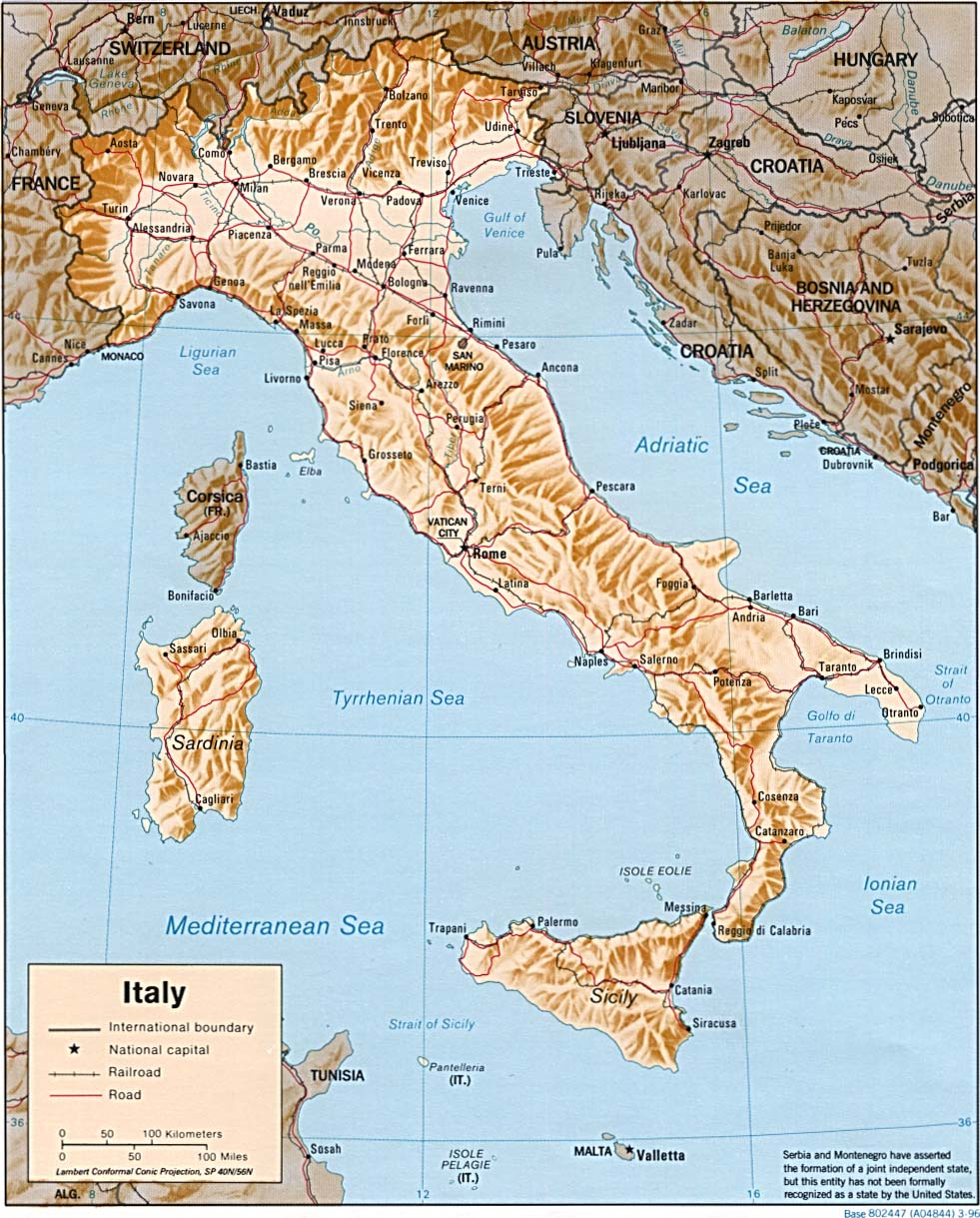 Italy Shaded Relief Map