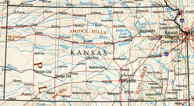 Mapa de Relieve Sombreado de Kansas, Estados Unidos