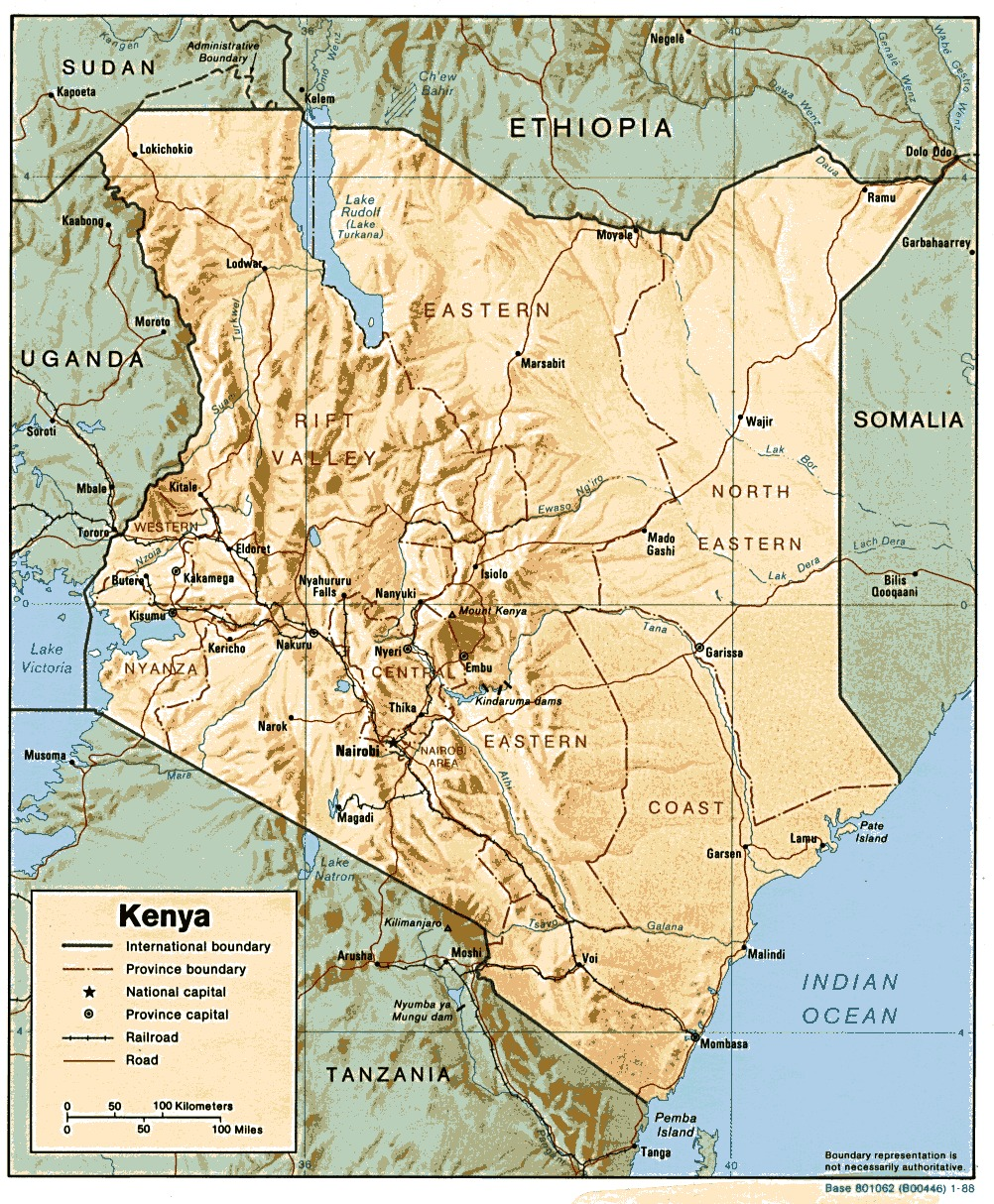 Kenya Shaded Relief Map