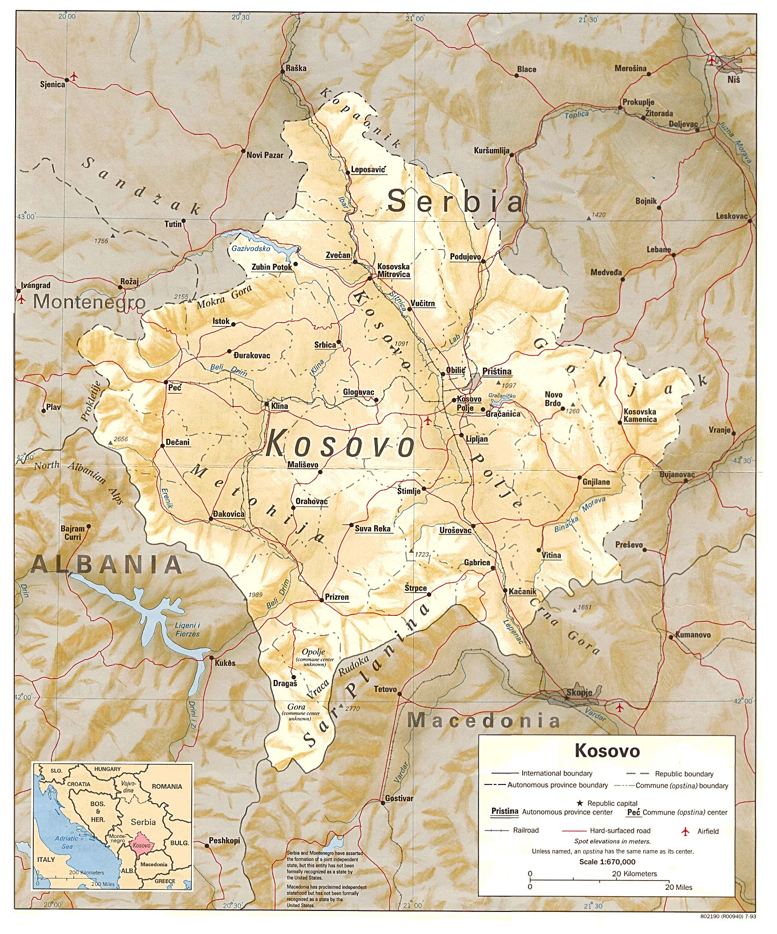 Kosovo Shaded Relief Map