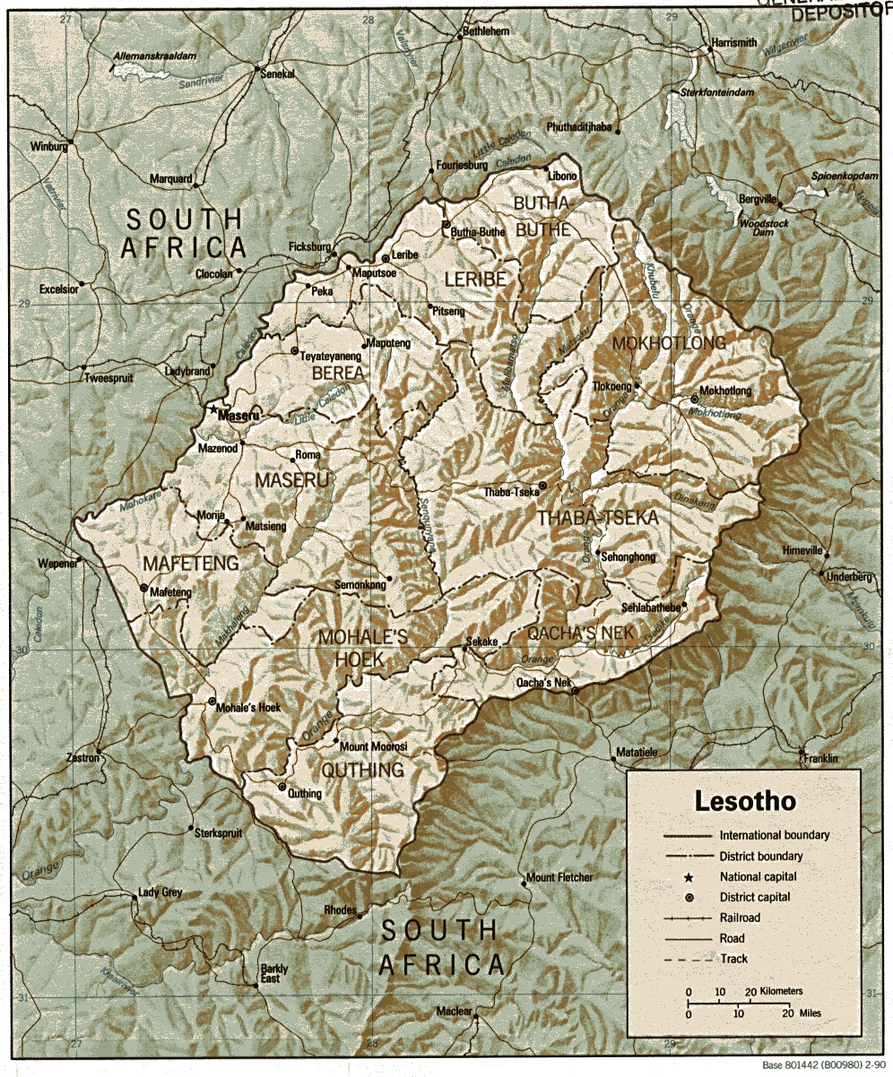 Lesotho Shaded Relief Map