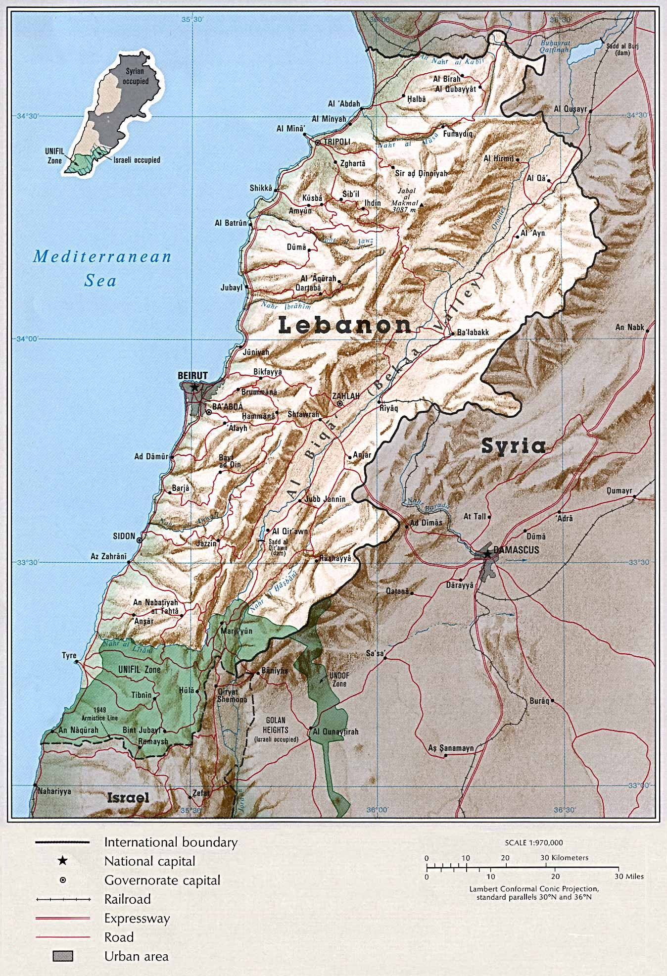 Lebanon Shaded Relief Map
