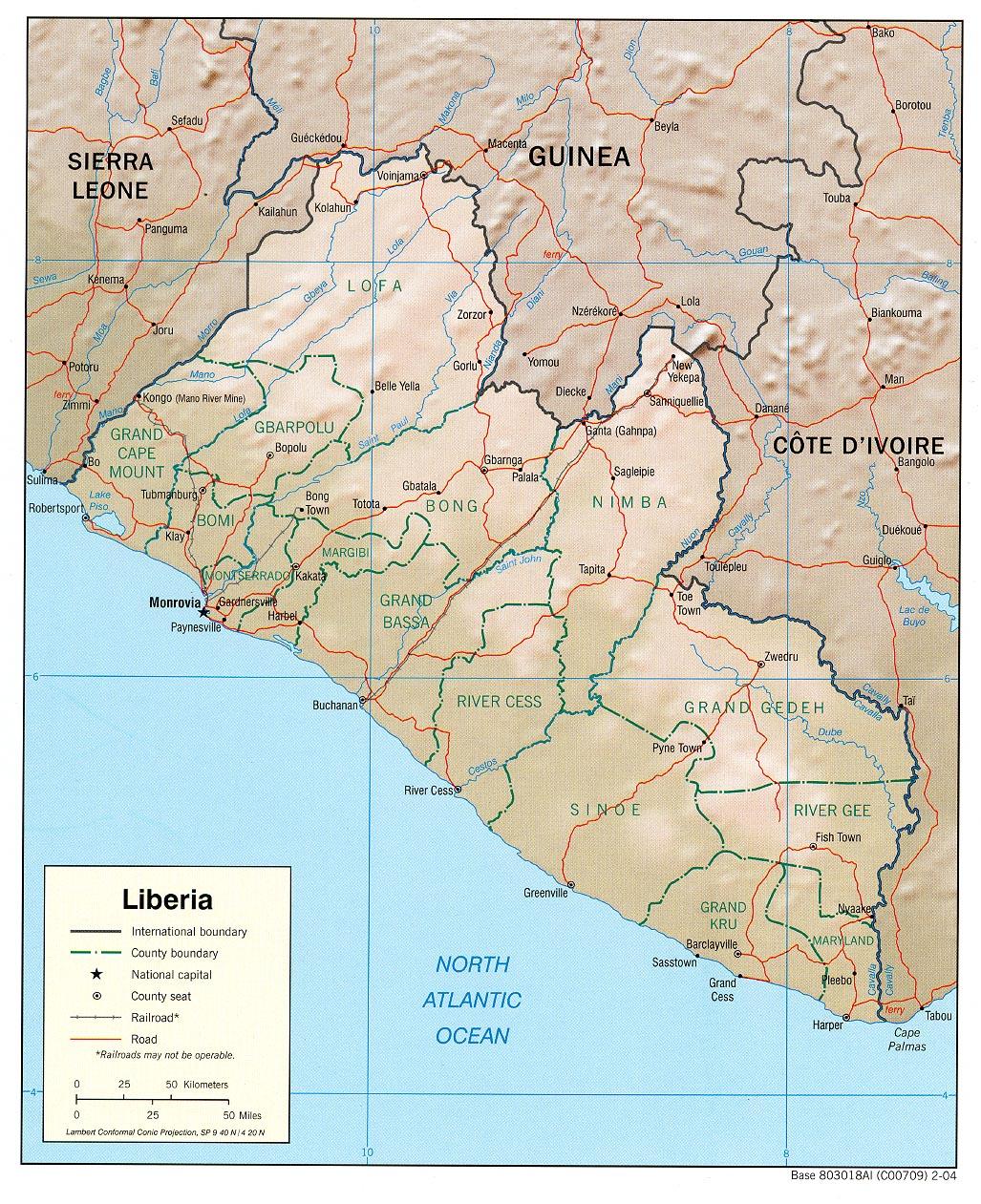 Mapa de Relieve Sombreado de Liberia