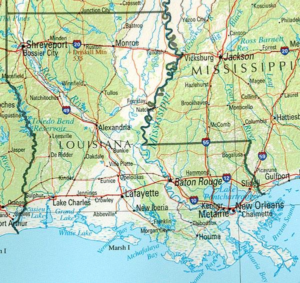 Mapa de Relieve Sombreado de Luisiana, Luisiana, Estados Unidos