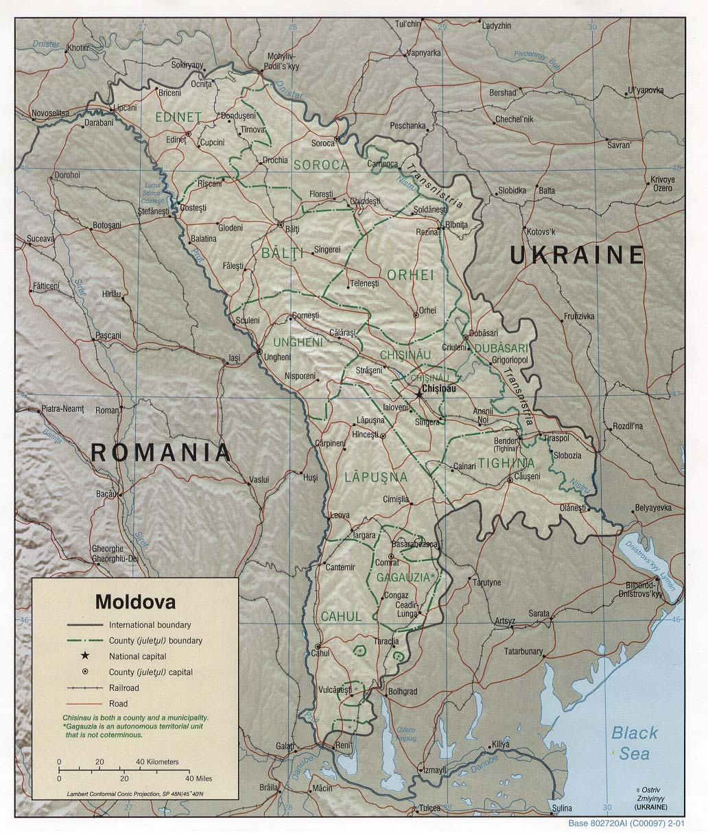 Moldova Shaded Relief Map