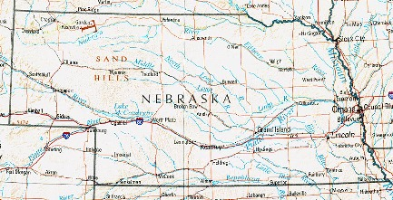 Mapa de Relieve Sombreado de Nebraska, Estados Unidos