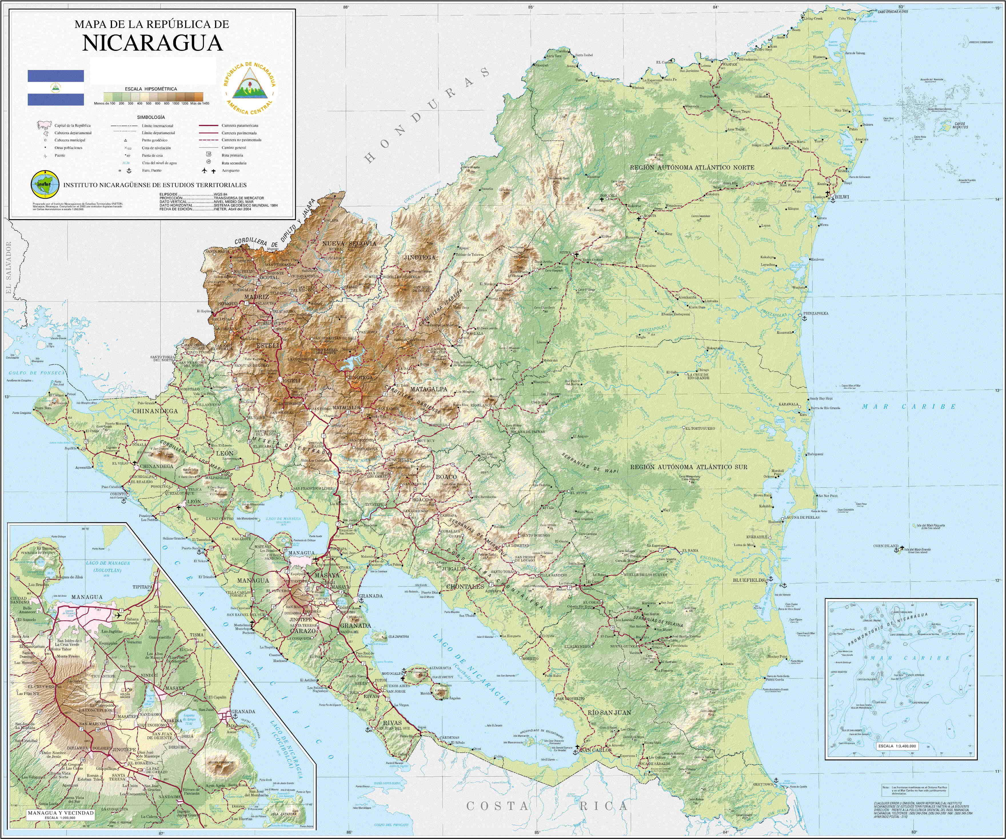 Mapa de Relieve Sombreado de Nicaragua