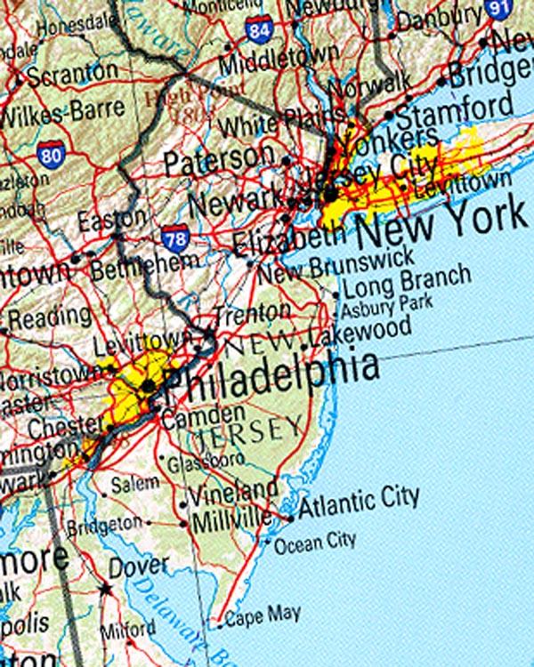 Mapa de Relieve Sombreado de Nueva Jersey, Estados Unidos