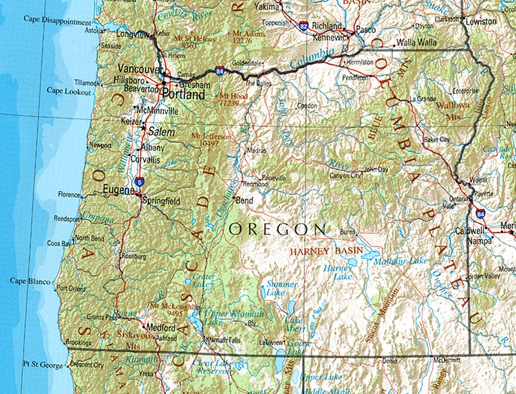 Oregon Shaded Relief Map, United States