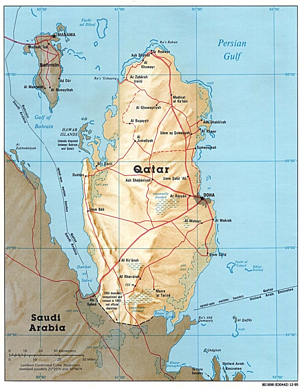 Qatar Shaded Relief Map
