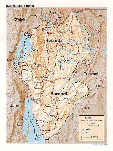 Rwanda and Burundi Shaded Relief Map