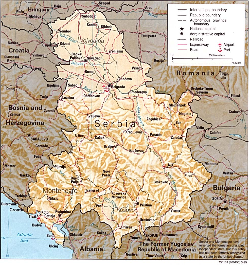 Serbia and Montenegro Shaded Relief Map