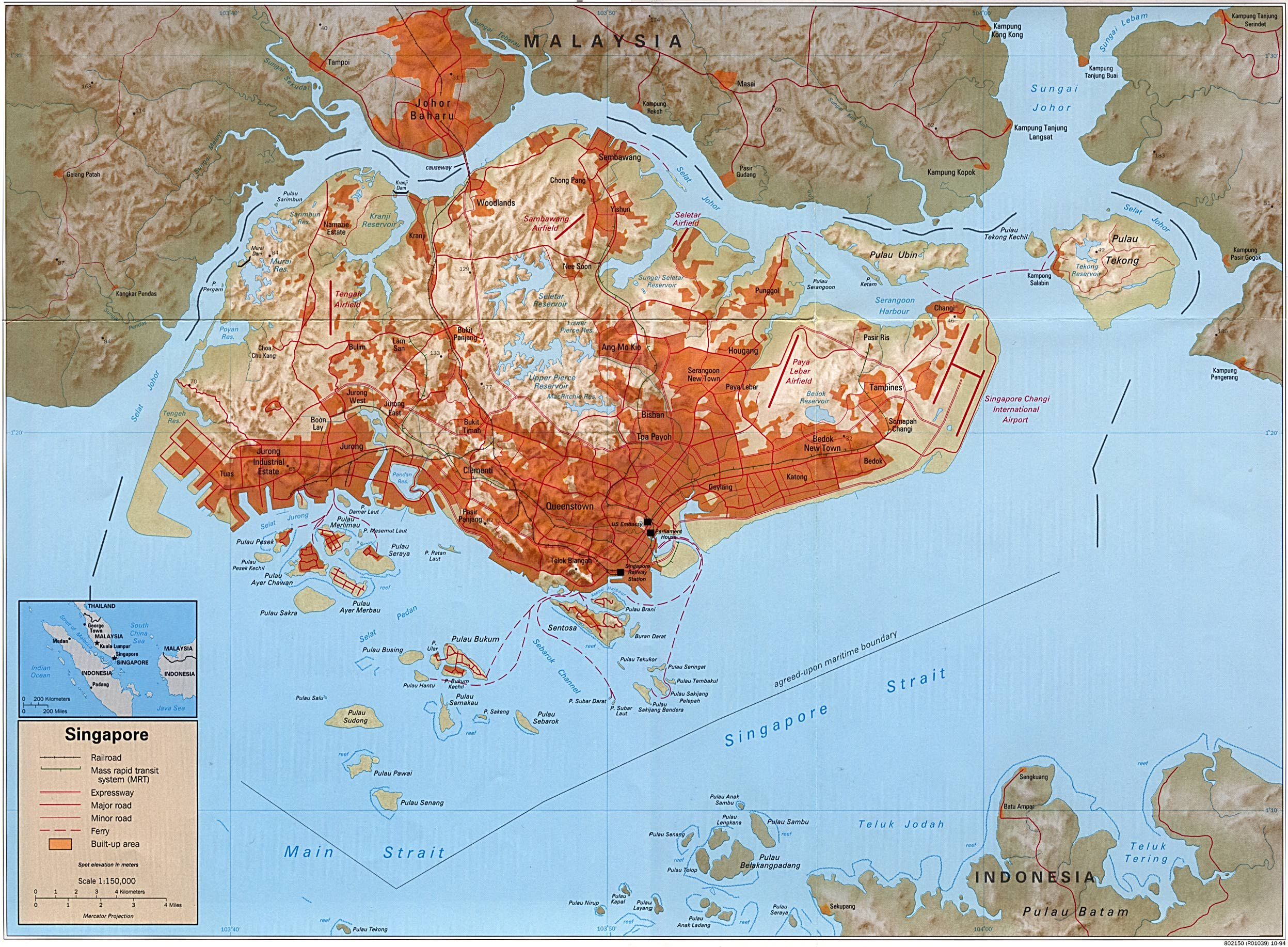 Singapore Shaded Relief Map