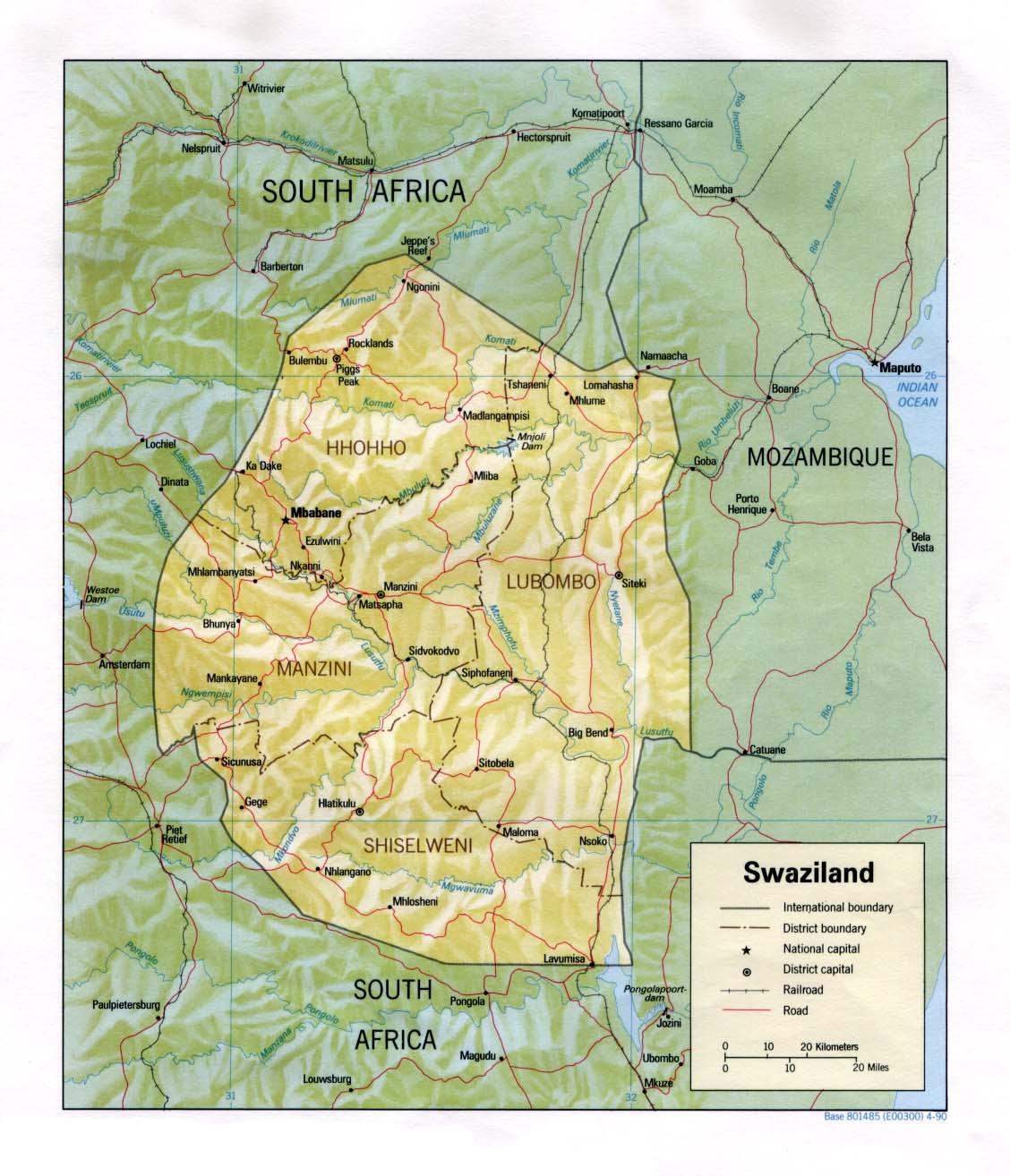 Mapa de Relieve Sombreado de Suazilandia