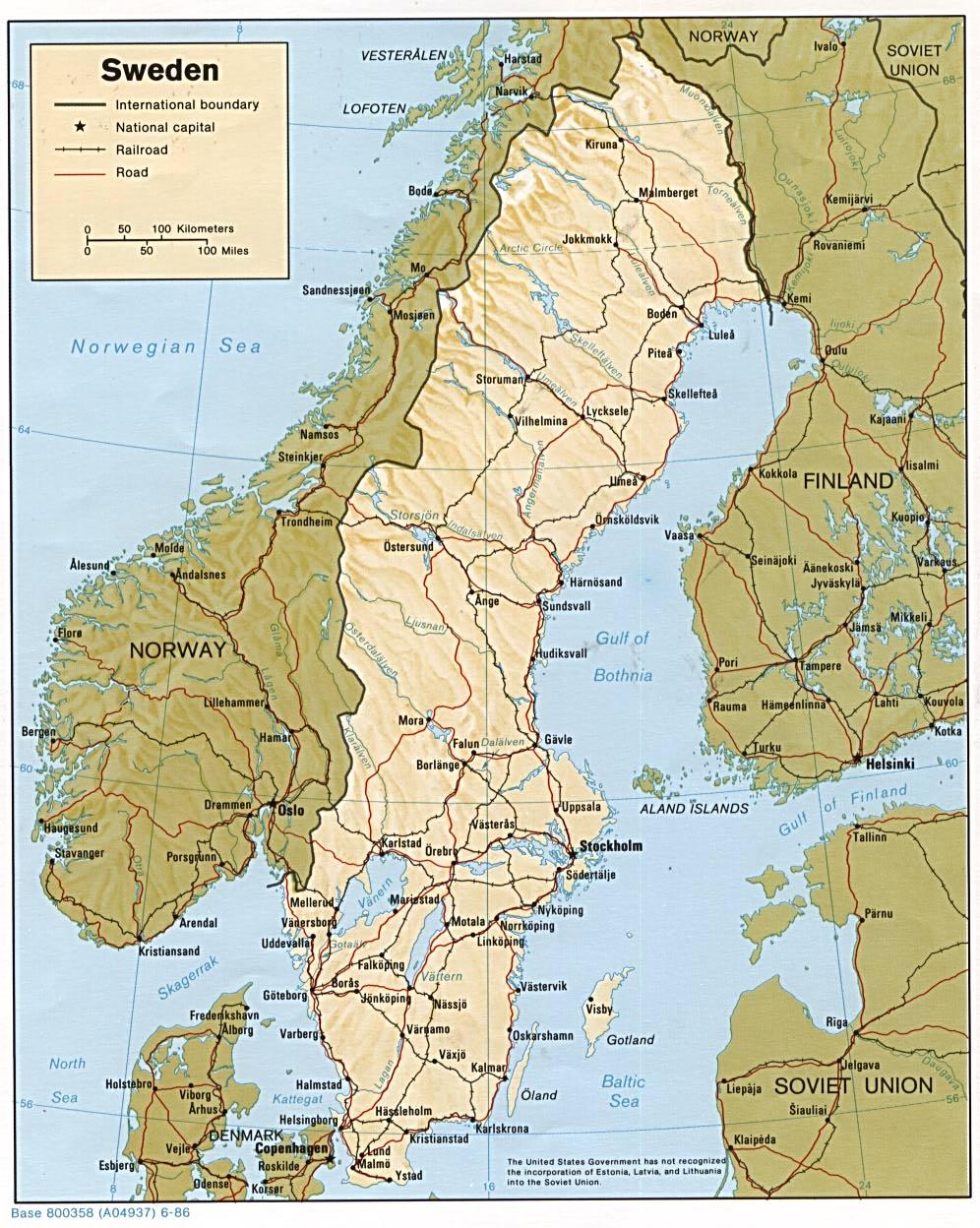 Mapa de Relieve Sombreado de Suecia