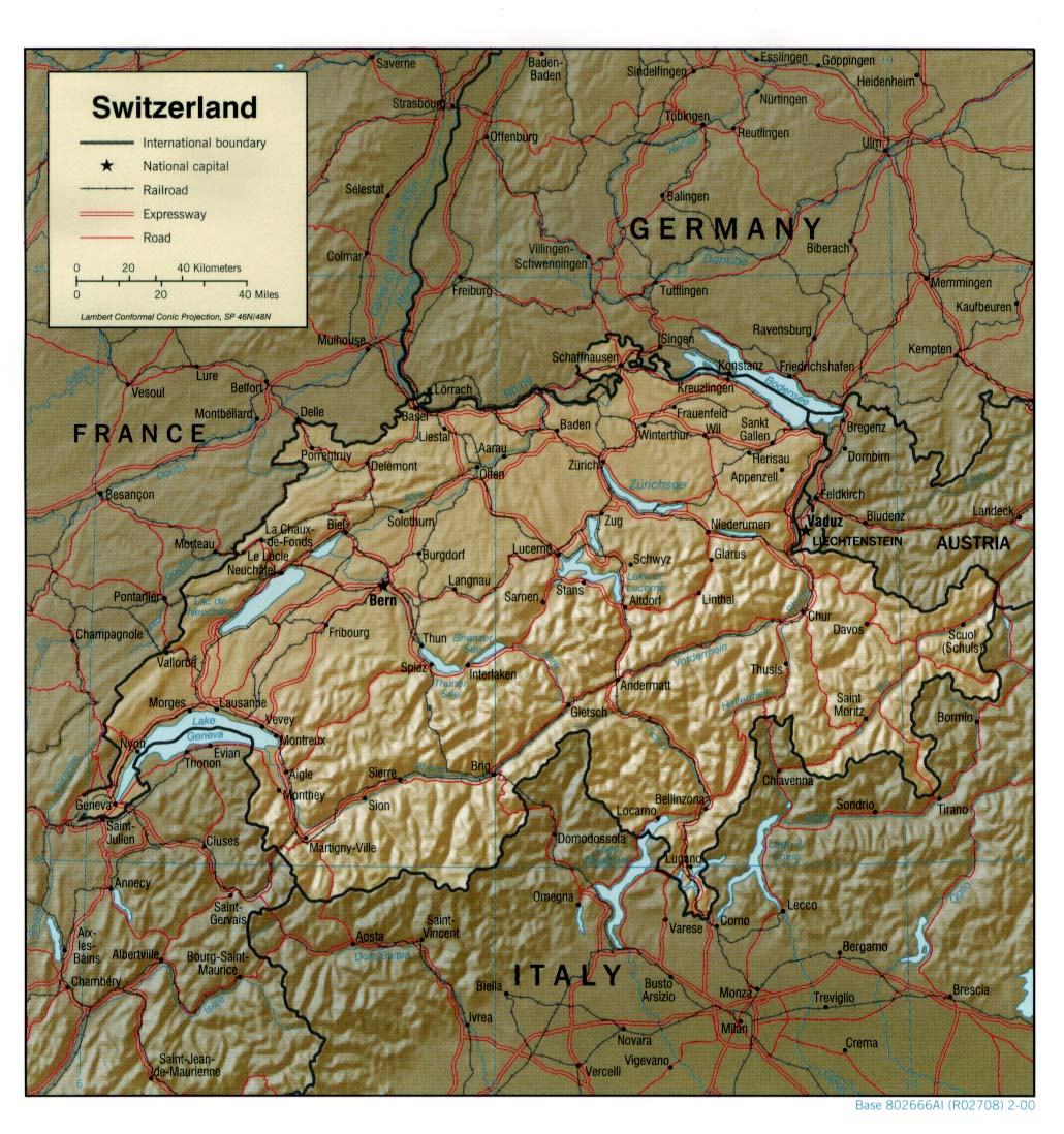 Mapa de Relieve Sombreado de Suiza