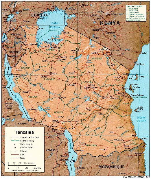 Mapa de Relieve Sombreado de Tanzania