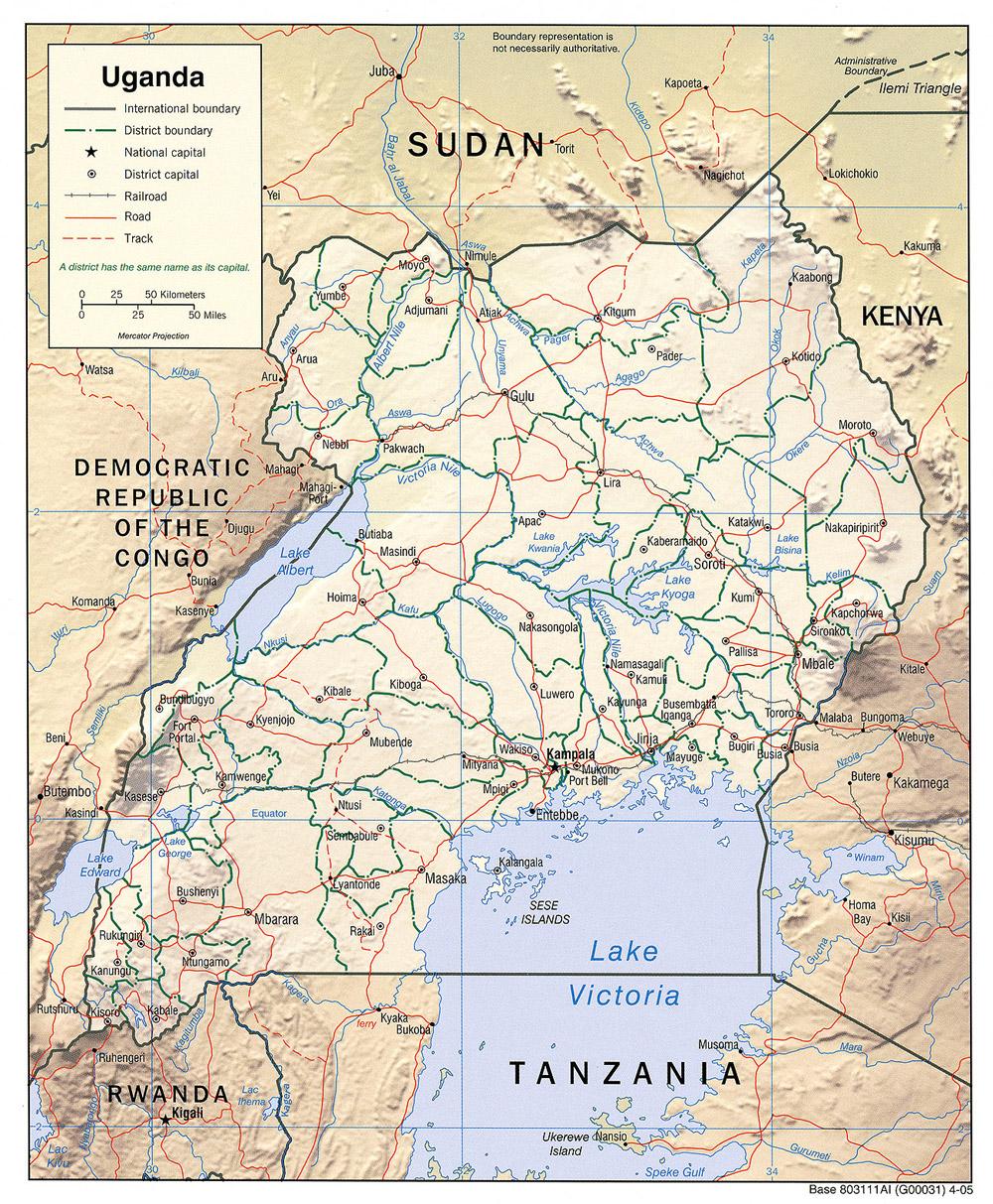 Mapa de Relieve Sombreado de Uganda