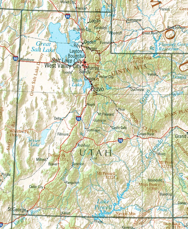 Utah Shaded Relief Map, United States