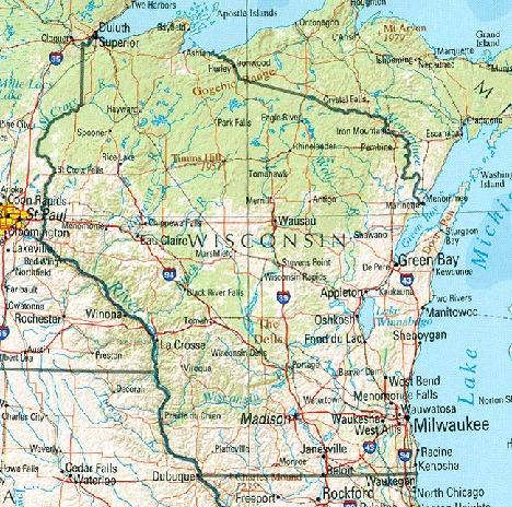 Mapa de Relieve Sombreado de Wisconsin, Estados Unidos