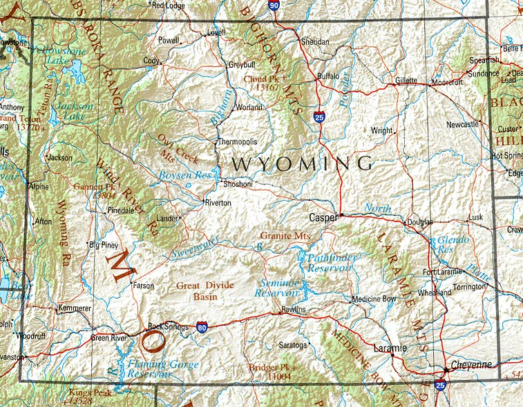 Wyoming Shaded Relief Map, United States