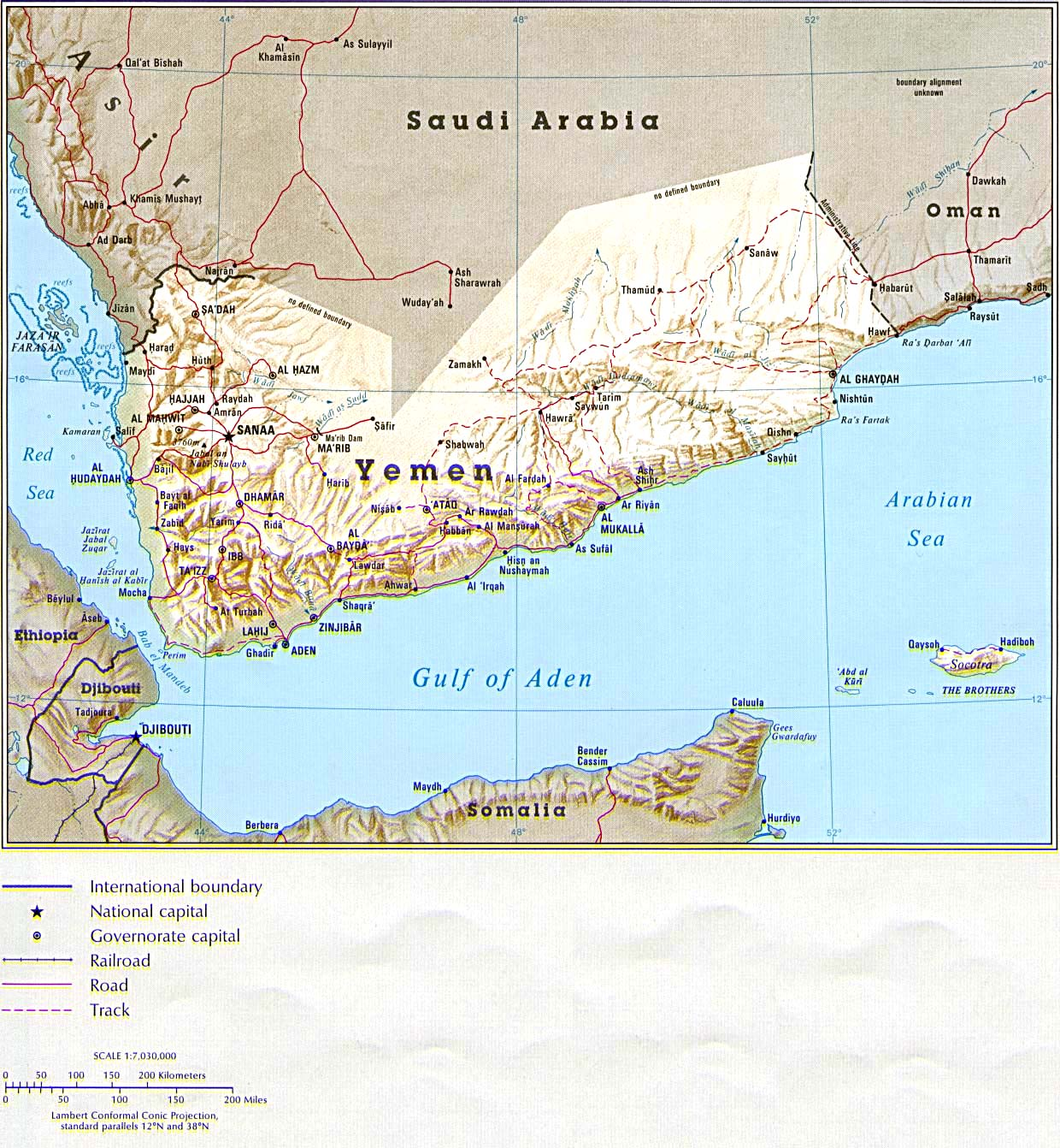 Yemen Map Middle East