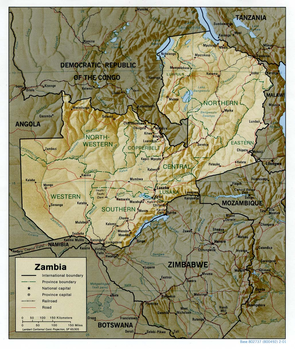 Zambia Shaded Relief Map