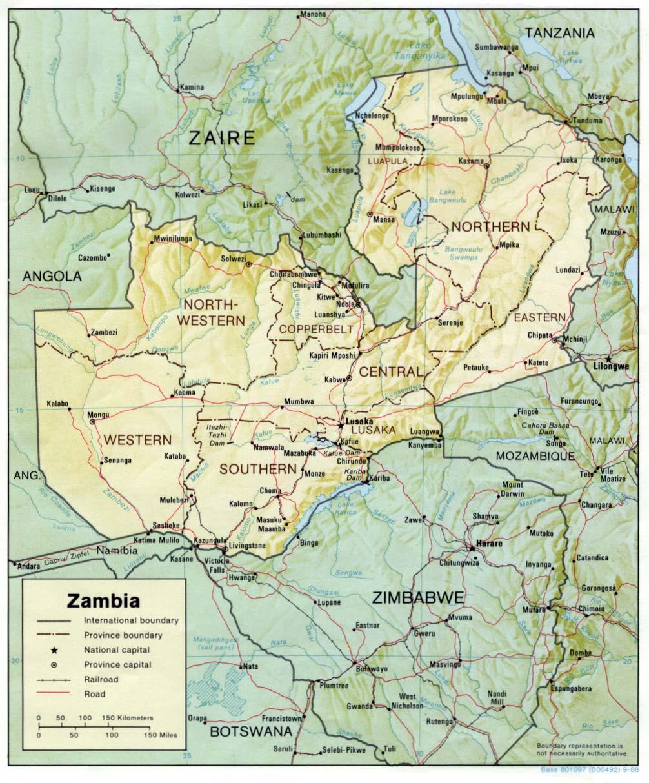 Mapa de Relieve Sombreado de Zambia