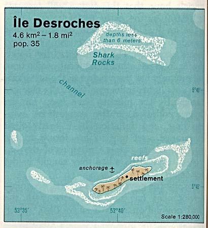 Mapa de Relieve Sombreado de la Isla Desroches, Seychelles