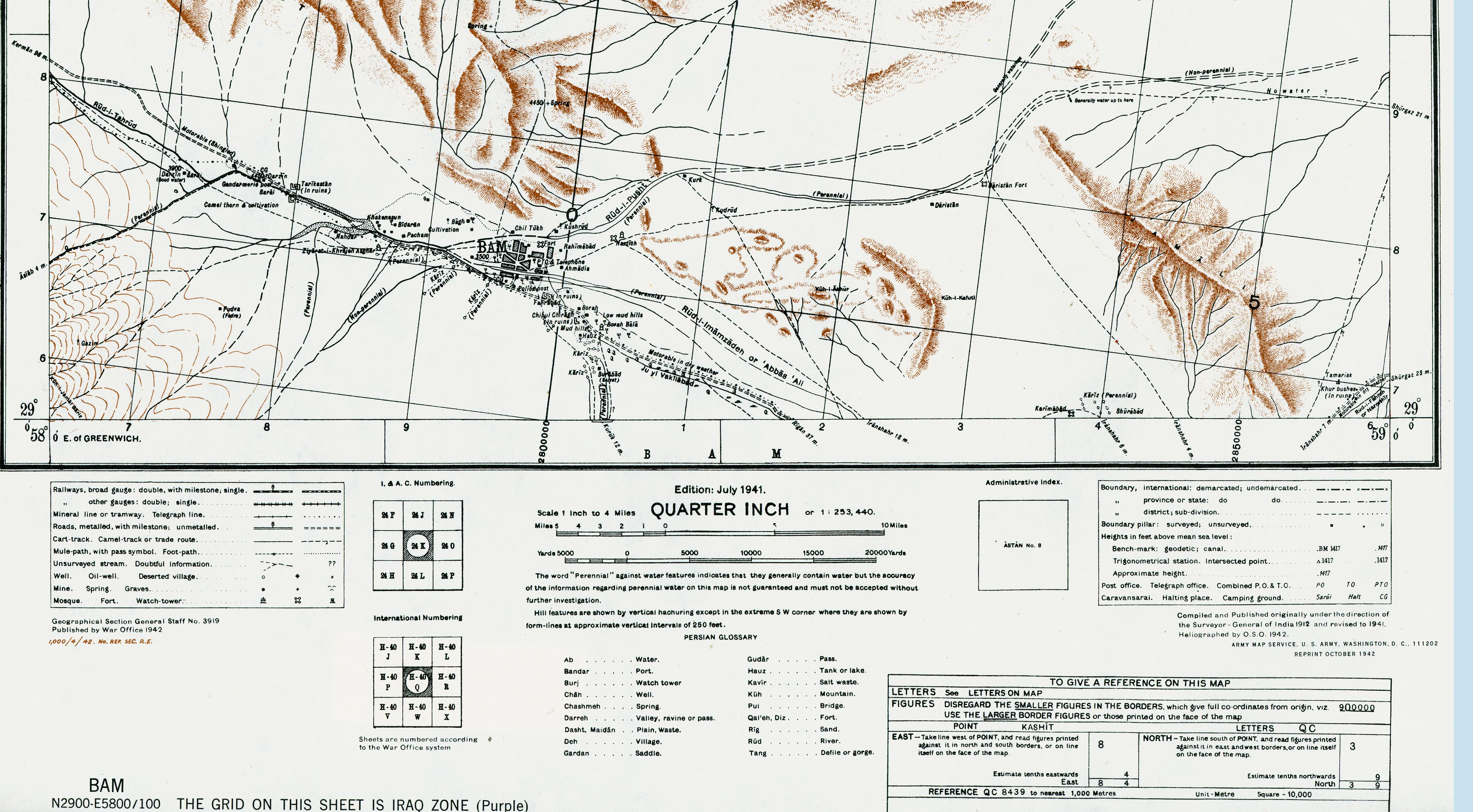 Bam Area Shaded Relief Map, Iran 1942